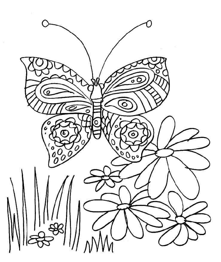 Coloriage papillon et fleurs - Papillon coloriage ...
